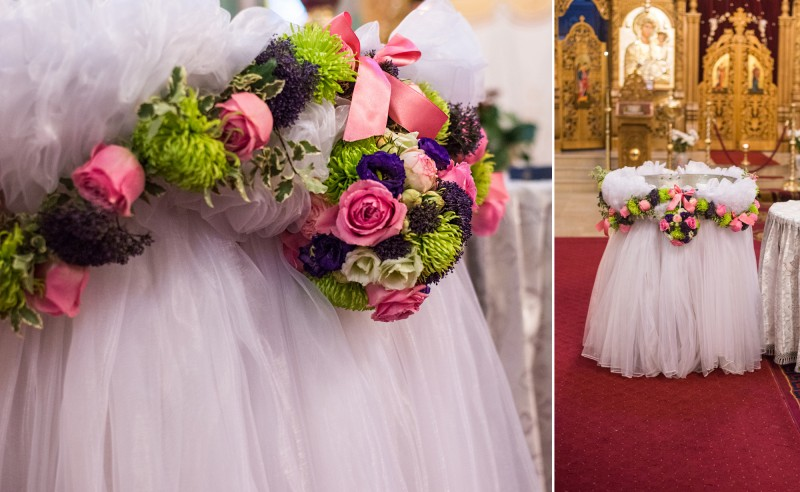 Decor cristelnita botez trandafiri lisianthus trachelium crizanteme