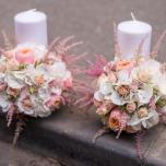 Buchet de mireasa si lumanari de nunta cu trandafiri vuvuzela pentru Andreea