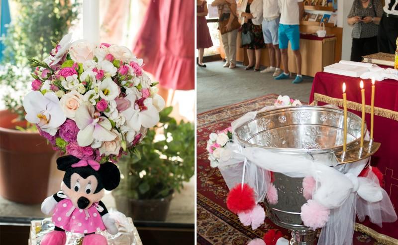 Lumanare de botez trandafiri miniroze lisianthus santini orhidee Minnie