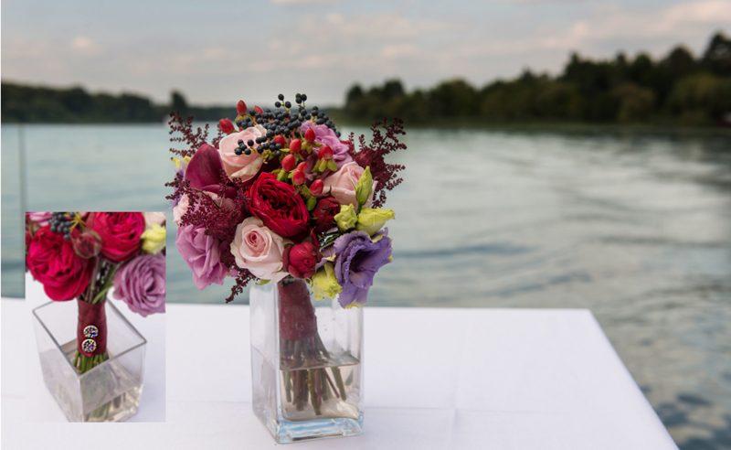 buchet cale visinii piano trandafiri roz mov hypericum rosu lisianthus mov miniroze rosii astilbe visiniu viburnum berries