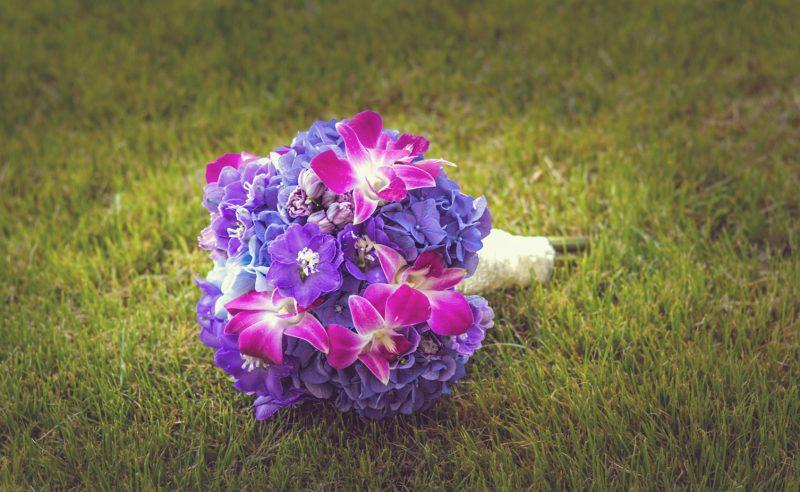 buchet hortensii bleu mov orhidee mov delphinium mov