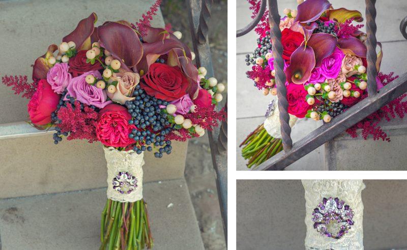 buchet mireasa cale trandafiri piano hypericum viburnum berries astilbe