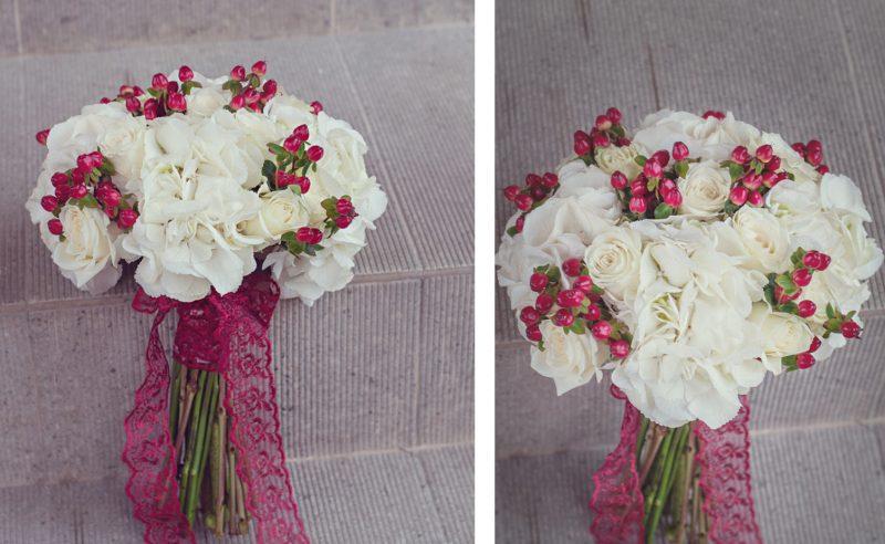 buchet mireasa hortensii albe trandafiri albi hypericum rosu