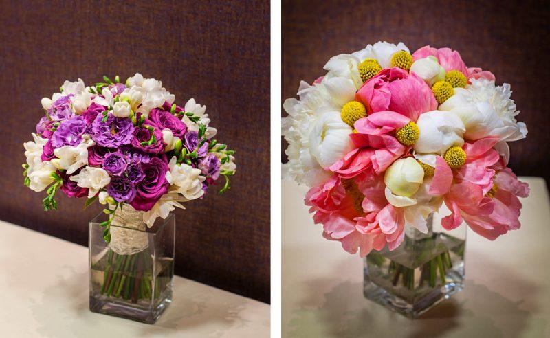 buchet trandafiri fucsia miniroze mov frezii albe & buchet bujori roz albi craspedia