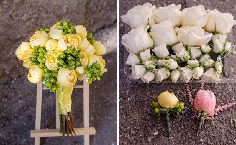 buchet trandafiri gradina galbeni hypericum verde
