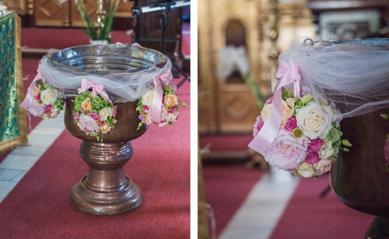 decor cristelnita hortensii verzi bujori trandafiri albi somon miniroze roz craspedia