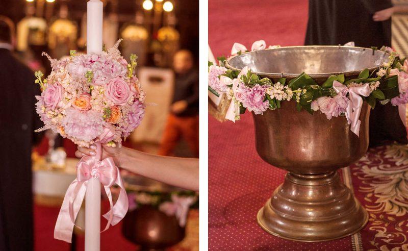 lumanare botez & decor cristelnita bujori trandafiri roz vuvuzela mathiola somon