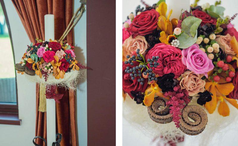 lumanari nunta trandafiri piano hypericum cosmos orhidee viburnum berries astilbe