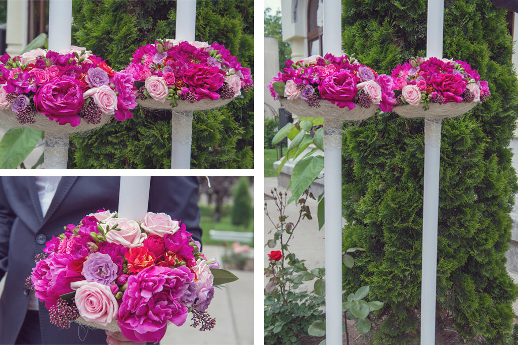 lumanari nunta bujori trandafiri miniroze piano frezii skimmia rubella