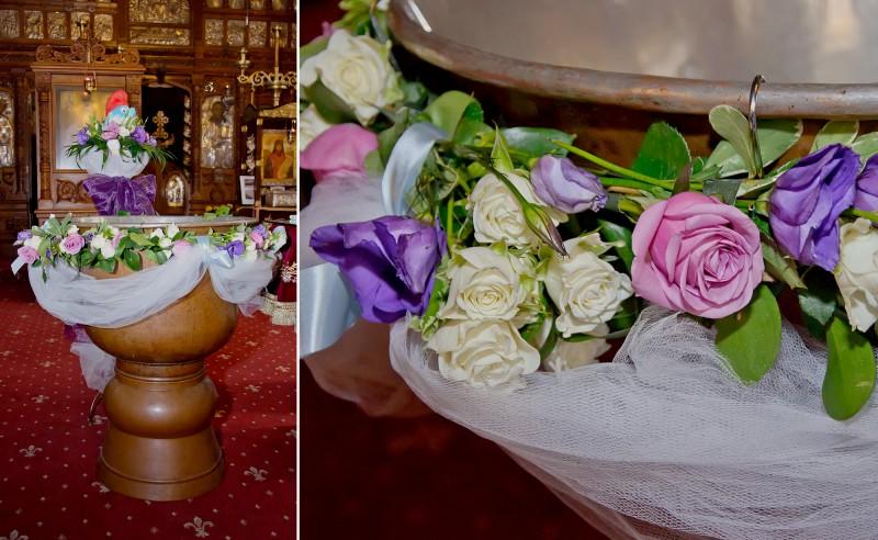 Decor cristelnita botez tematic strumfi trandafiri miniroze lisianthus