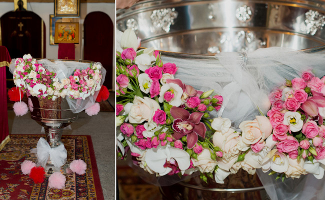 Decor cristelnita de botez trandafiri miniroze lisianthus santini orhidee