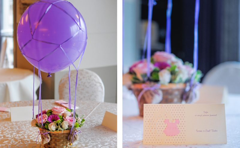 aranjament floral roz mov Zbor in balon