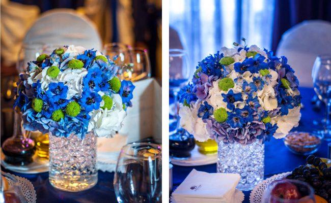 aranjament hortensii albe albastre delphinium albastru santini