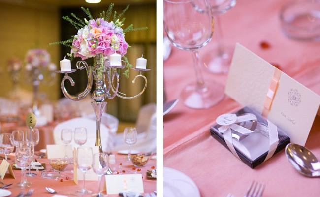 aranjament hortensii roz albe trandafiri somon roz lisianthus gold somon thlaspi