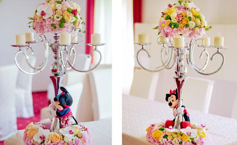 aranjament sfesnic coronita florala Minnie Mickey hortensii roz trandafiri somon miniroze albe somon santini orhidee