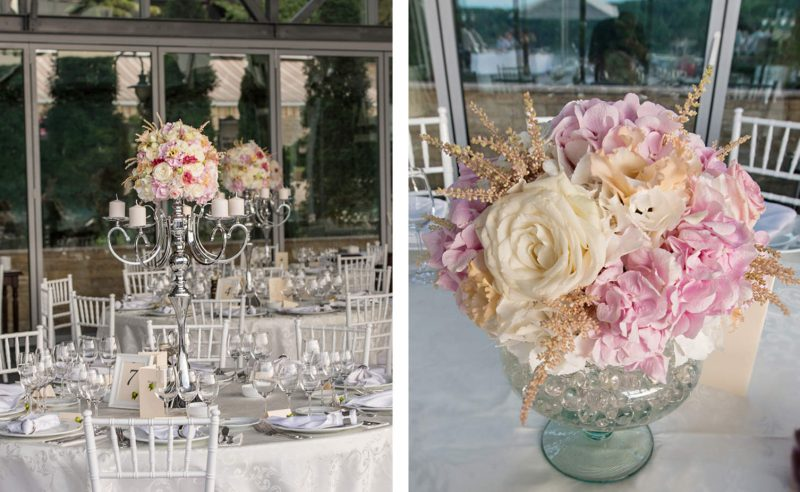 aranjamente florale hortensii albe roz trandafiri albi lisianthus somon astilbe crem
