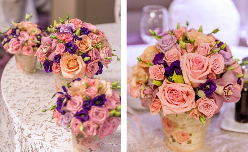 aranjamente floral botez orhidee trandafiri roz mov somon miniroze roz lisianthus mov
