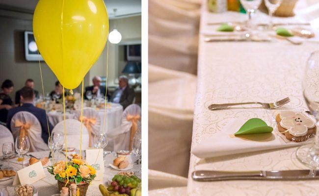botez tematic zbor in balon galben si verde