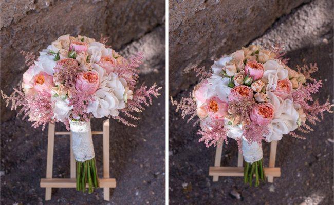 buchet mireasa hortensii albe vuvuzela minrioze somon astilbe roz
