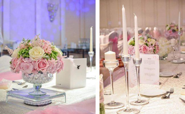 detalii aranjament floral prezidiu hortensii roz mov trandafiri albi roz lisianthus roz astilbe roz