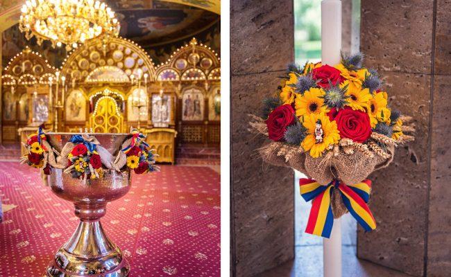 lumanare botez si decor cristelnita tematica romaneasca